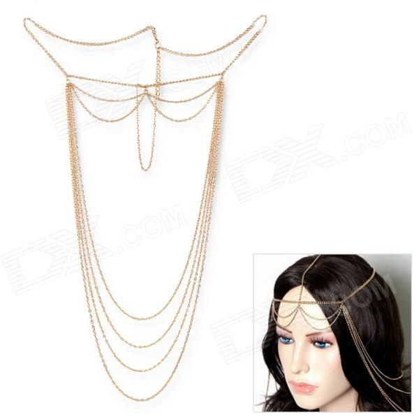 eQute OPEW5C13 Bohemian Style Elegant Tassel Chain Hair Band Ribbon - Golden