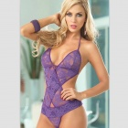 Sexy Lace One-Piece Underwear - Purple