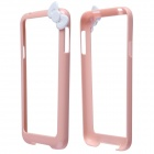Fashionable Protective PC Bumper Frame Case w/ Bowknot for Samsung Galaxy S5 - Pink + White