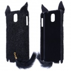 Fashion Plush Mink Style Protective PC Case w/ Tail for Samsung Galaxy Note 3 - Black