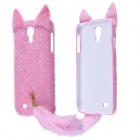 Fashion Plush Mink Style Protective PC Case with Tail for Samsung Galaxy S4 - Pink