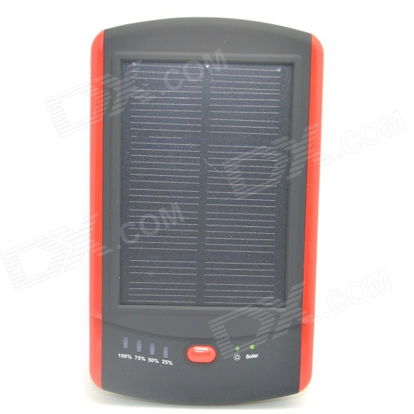 ODEM Solar Powered 6000mAh External Battery Charger Power Source Bank - Red + Black solar battery powered butterfly random color