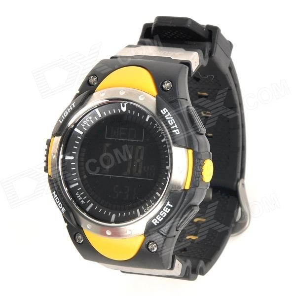 FR828B Outdoor Sports Waterproof Altimeter Barometer Digital Watch w/ EL, Compass - Yellow north edge men sports fishing altimeter barometer thermometer weather forecast pedometer watches digital hiking climbing watch