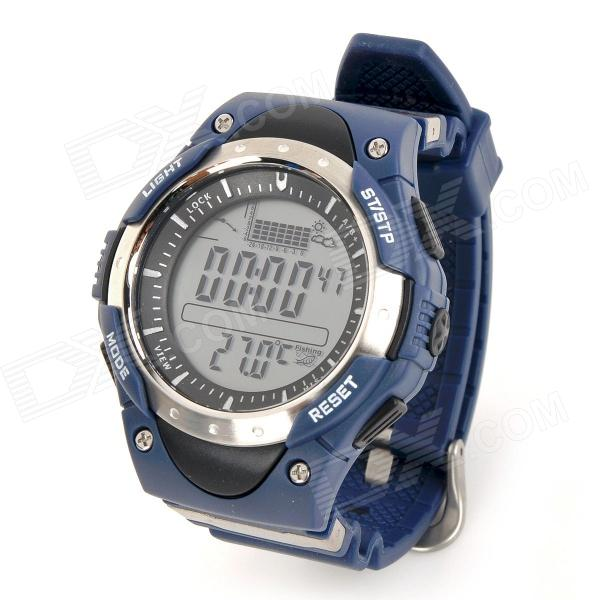 FR716A Outdoor Concurrerende Fishing Barometer Digitaal horloge w / Backlight - Blauw (1 x CR2032)