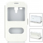 DULISIMAI Protective Flip-Open PU + PC Case w/ Dual Display Window + Stand for Samsung S7562 - White