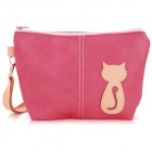 Animob A08-119 Women's Cat Pattern PU Coin Purse / Mobile Phone Bag / Cosmetic Bag - Deep Pink