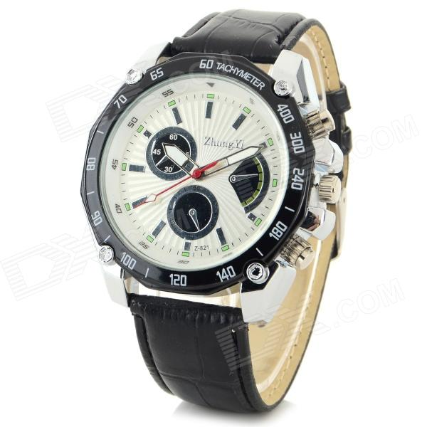 Zhongyi 821 PU Leather Band Analog Quartz Wrist Watch for Men - Black + White (1 x 626)
