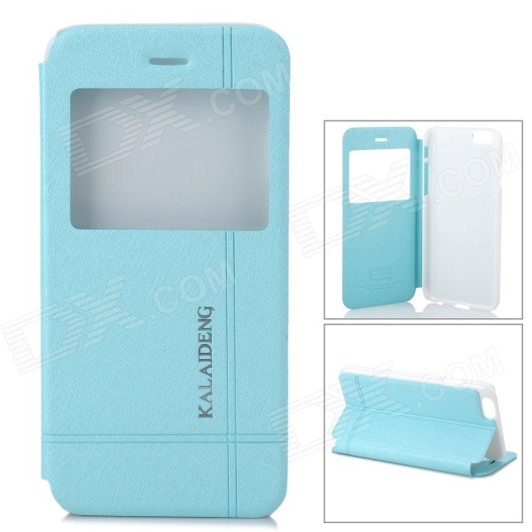 KALAIDENG Protective PU + PC Case w/ Stand / Window for 4.7 IPHONE 6 - Blue соковыжималка универсальная philips hr 1837 00 viva collection