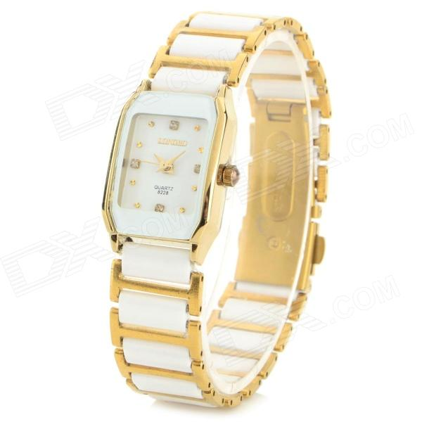 Fashion Ceramics Analog Quartz Wrist Watch for Women - White + Gold women fashion watches rose gold rhinestone leather strap ladies watch analog quartz wristwatch clocks hour gift relogio feminino