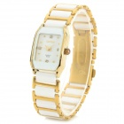 Fashion Ceramics Analog Quartz Wrist Watch for Women - White + Gold