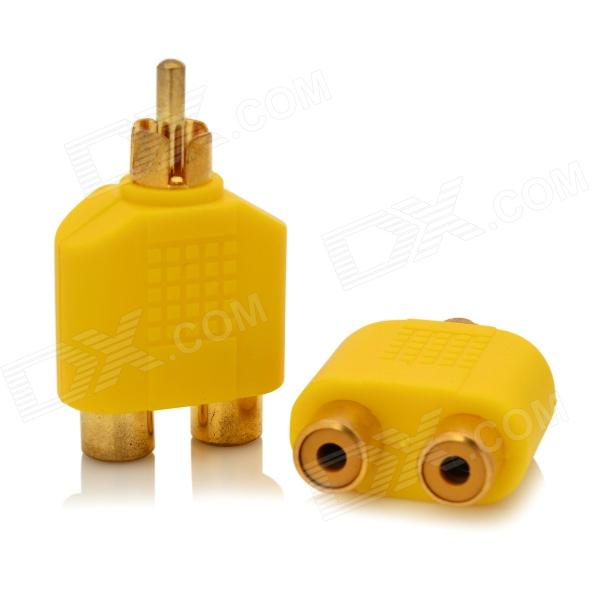 1-to-2 RCA Male to Female AV Adapter Connector - Yellow + Golden (2 PCS) fqpf9n50 to 220f