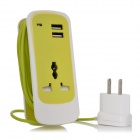 Portable Multi-Function US Plug Power Socket Strip w/ 2-Port USB - Green + White
