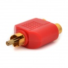 1-to-2 RCA Male to Female AV Adapter Connector - Red + Golden (2 PCS)
