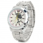 Zhongyi W803 Stainless Steel Band Analog Quartz Wrist Watch for Men - Silver + White