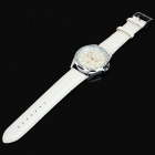 Zhongyi 855 PU Leather Band Analog Quartz Wrist Watch for Men - White + Silver