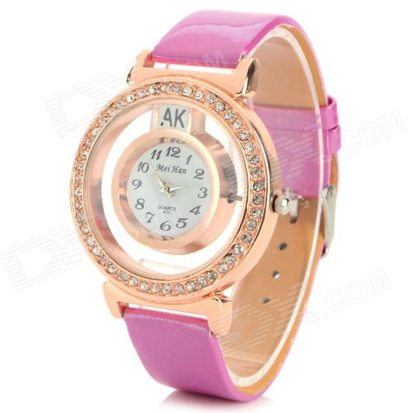 MeiHan A11 Women's Crystal Studded PU Band Analog Quartz Watch - Deep Pink + Rose Gold (1 x 626)