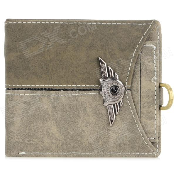 LX-BO138 Stylish Canvas Fold-up Wallet for Men - Brown + Deep Grey