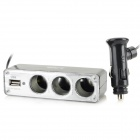1-to-3 Car Cigarette Lighter Power Splitter Socket w/ USB - Black + Silver