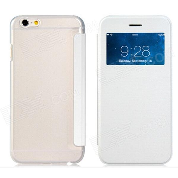 Protective Flip-Open PU Cover + PC Back Case w/ Display Window for 4.7 IPHONE 6 - White смартфон samsung galaxy j7 2016 sm j710fn gold