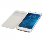 "Protective Flip-Open PU Cover + PC Back Case w/ Display Window for 4.7"" IPHONE 6 - White"