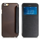 "Protective Flip-Open PU Cover + PC Back Case w/ Display Window for 4.7"" IPHONE 6 - Black"