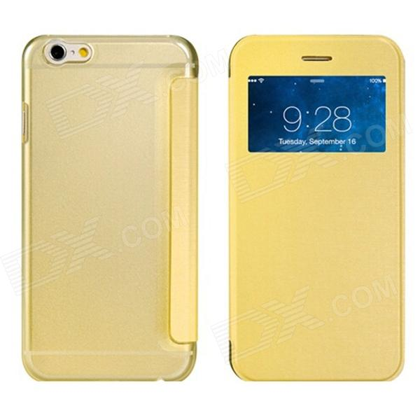 Protective Flip-Open PU Cover + PC Back Case w/ Display Window for 4.7 IPHONE 6 - Yellow protective pc tpu back case for iphone 5 w anti dust cover lavender purple