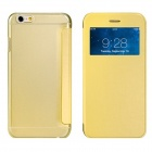 "Protective Flip-Open PU Cover + PC Back Case w/ Display Window for 4.7"" IPHONE 6 - Yellow"