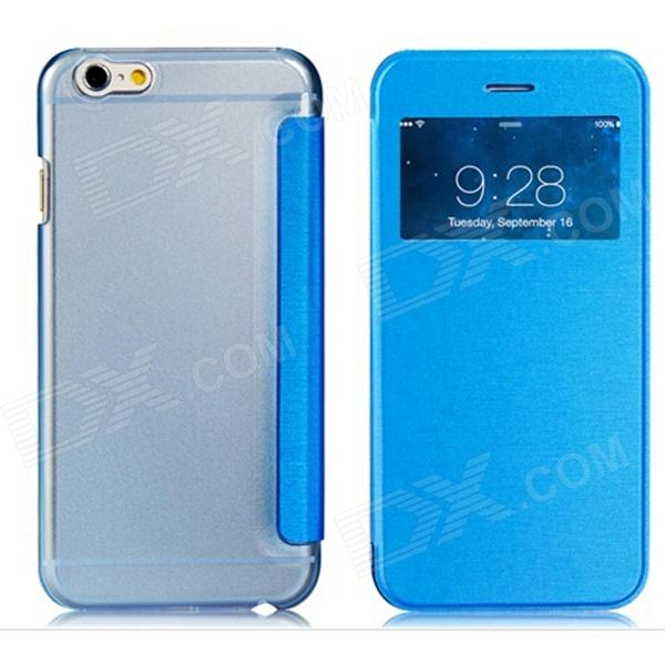 Protective Flip-Open PU Cover + PC Back Case w/ Display Window for 4.7 IPHONE 6 - Blue mo mat ultrathin flip open pc case w display window for iphone 6 plus 5 5 blue