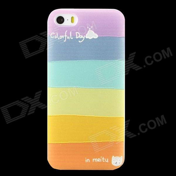 Ultra-thin ''Colorful Day'' Pattern Protective TPU Back Case for IPHONE 5 / 5S - Multi-Color holes pattern protective tpu back case for iphone 6 plus 5 5 yellow