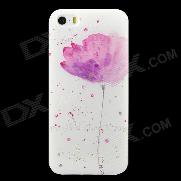 Ultra-thin Embossed Flower Pattern Protective TPU Back Case for IPHONE 5 / 5S - White + Light Pink ultra thin leopard print pattern protective tpu back case for iphone 5 5s pink