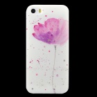 Ultra-thin Embossed Flower Pattern Protective TPU Back Case for IPHONE 5 / 5S - White + Light Pink