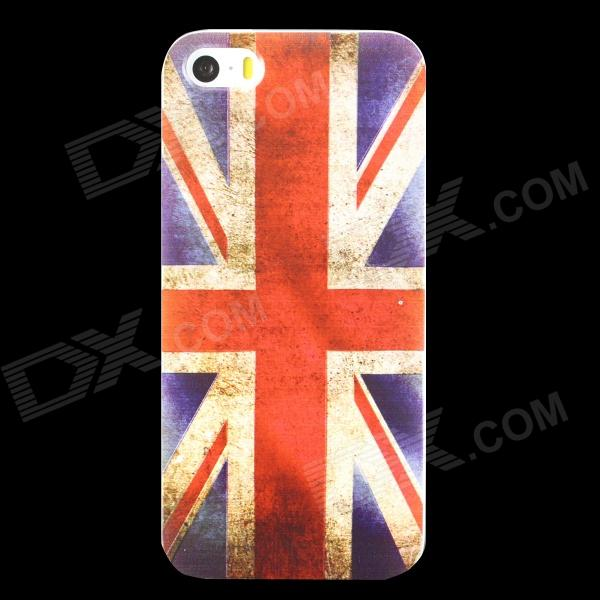 Ultra-thin Embossed UK Flag Pattern Protective TPU Back Case for IPHONE 5 / 5S - Red + Blue ultra thin protective tpu matte back case for iphone 5 iphone 5s white