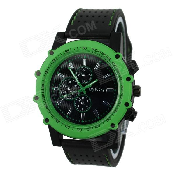 Men's Football Series Sports Silicone Band Analog Quartz Wrist Watch - Green + Black (1 x 377)