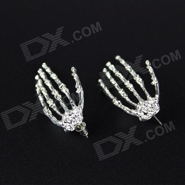 Women's Cool Hand Skeleton Style Zinc Alloy Earrings Ear Studs - Silver (Pair)