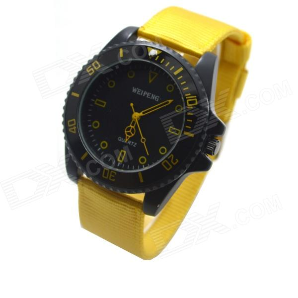 W-3 Men's Sports Outdoor Cloth Belt Analog Quartz Wrist Watch - Black + Yellow (1 x LR626)