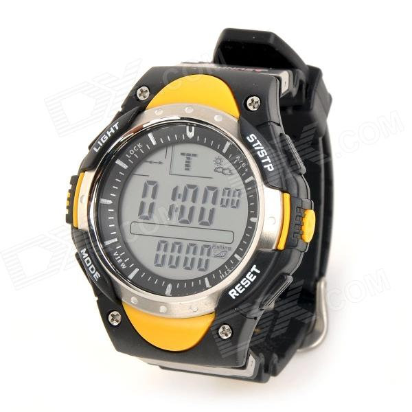 FR718A Outdoor Concurrerende Fishing Barometer Digitaal horloge w / Backlight - Geel (1 x CR2032)