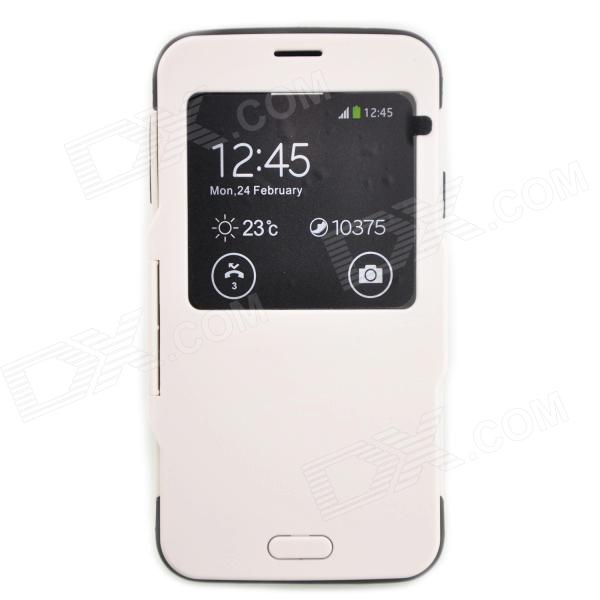 Protective Flip Open PC + TPU Case w/ View Window for Samsung Galaxy S5 N9600 - White