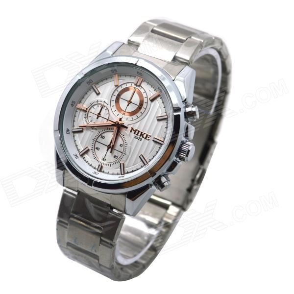 MIKE 8825 Men's Business Casual Analog Quartz Wrist Watch - Silver + White