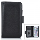 "Solid Color PU Leather Case with Wallet for IPHONE 6 4.7"" - Black"