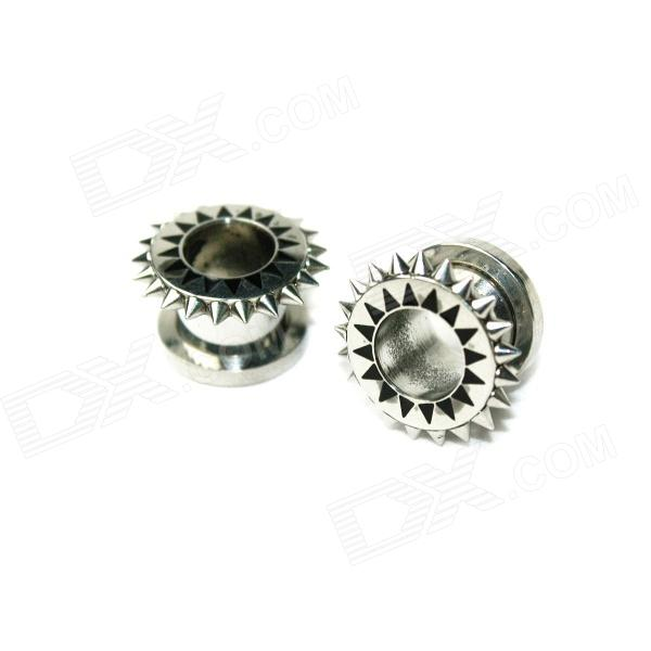 EK-004 Men's Cool Punk Titanium Expansion Earlobe Plug - Silver