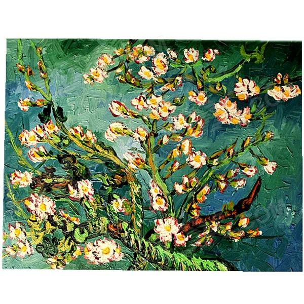 Hand-painted Almond Branches in Bloom Canvas Oil Painting - Blue + White (45 x 35cm)