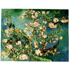 "Hand-painted ""Almond Branches in Bloom"" Canvas Oil Painting - Blue + White (45 x 35cm)"