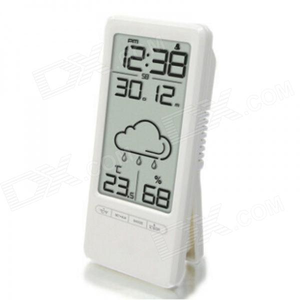 TS-669 Mini Electronic Alarm Clock w/ Weather / Temperature / Humidity / Date - White (2 x AAA) novelty run around wake up n catch me digital alarm clock on wheels white 4 aaa