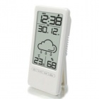TS-669 Mini Electronic Alarm Clock w/ Weather / Temperature / Humidity / Date - White (2 x AAA)