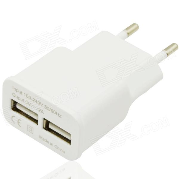 Universal 5V / 2A AC Charging Adapter Charger w/ Dual USB Output for Cellphones - White (EU Plug) цена и фото