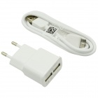 Dual USB Power Adapter Charger + USB Cable for Samsung Note 3 N9000 - White (AC 100~240V / EU Plug)