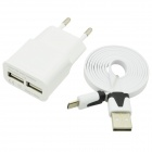 Dual USB AC Power Charger Adapter + Micro USB Cable for Samsung / HTC - White (EU Plug)