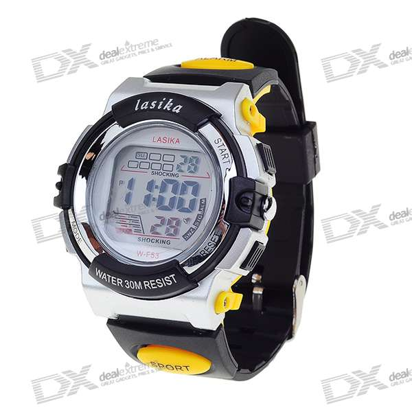 Trendy Light Digital Watch with Date Display/Stopwatch/Alarm Clock - Black + Yellow (1*CR2025)