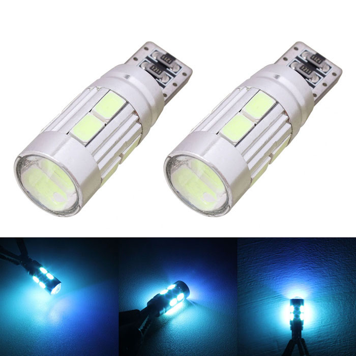 MZ T10 5W 350lm 10-SMD 5630 LED Error Free Canbus Ice Blue Light Car Clearance Lamp (DC12V/2 PCS) merdia t10 5w 126lm 9 x smd 5050 led error free canbus red light car clearance lamp 12v 2pcs