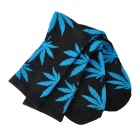 Leaves Patterned Thickened High Cotton Sports Socks - Black + Blue (Pair)